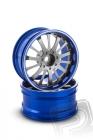 Hliníkový disk 14 paprskov, offset 6 mm - modrá farba (2 ks)