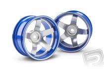 Hliníkový disk 5 paprskov, offset 9 mm - modrá farba (2 ks)