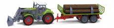 RC kolesový traktor s vlečkou dreva