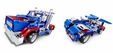 RC stavebnica kamión a športiak 2v1, modrá