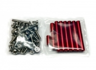 Skrutky, matice a dištančné stĺpiky pre BEE245 (červené)
