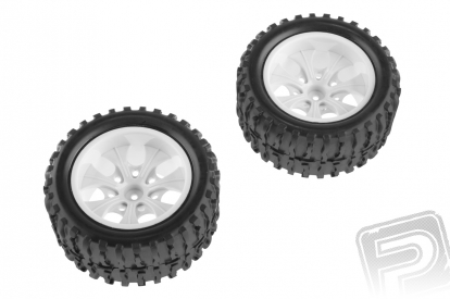 Nalepené gumy - 1/10 Monster, biele disky (2 ks)