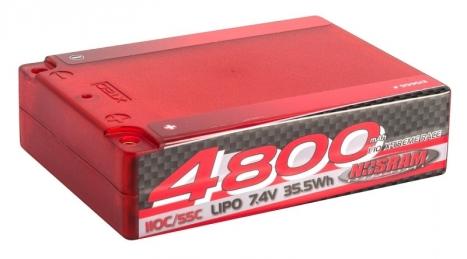 NOSRAM 4800 - Square Pack - 110C/55C - 7.4V LiPo - 1/10 Competition Car Line Hardcase