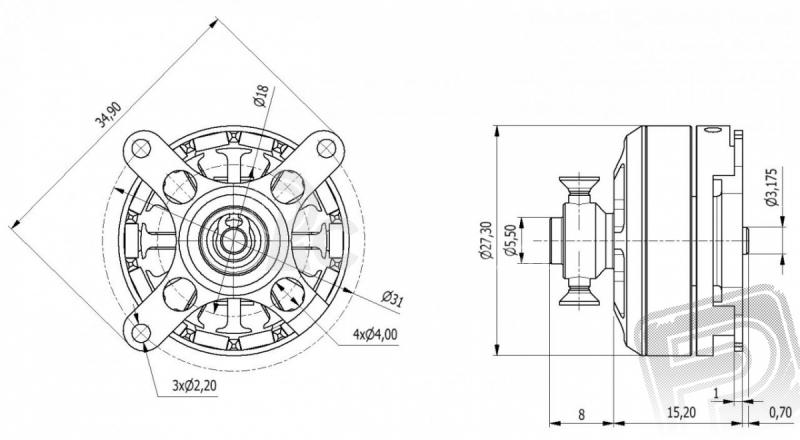 AXI 2203/46 V2 striedavý motor