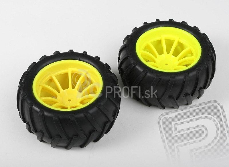 Nalepené gumy - 1/10 Monster, žlté disky (2 ks)