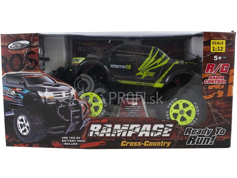 RC auto RAMPAGE Cross Country, čiernozelená