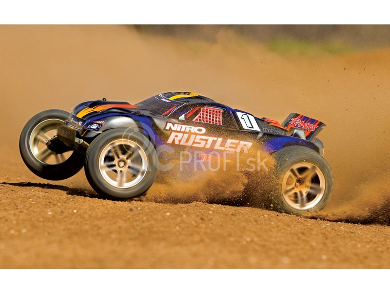 RC auto Traxxas Nitro Rustler 1:10, modrá