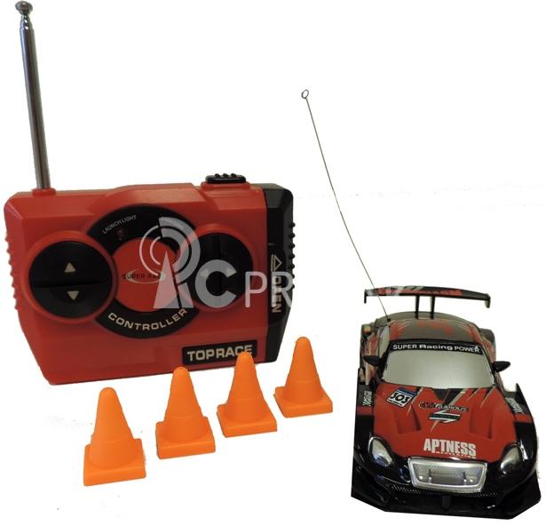 RC Car závodný model s kužeľmi 1:43, čierno červený