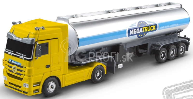 RC kamión Mercedes Benz cisterna, žltý