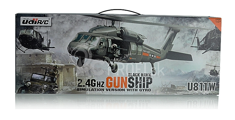 RC vrtuľník Black Hawk - Gunship